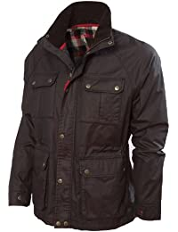 VEDONEIRE Mens Dry Wax Jacket (3050 BROWN) dry waxed motorbike style coat