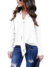 ebfac92c8806c Yidarton Women V Neck Chiffon Long Sleeve Solid Color Casual Tops Shirts  Blouse