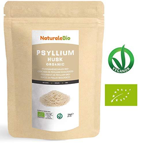 Flohsamenschalen Bio [ 99 % Reinheit ] 1 kg. Organic Psyllium Husk. 100% Indishe, naturbelassen und rein. Ballaststoffreich und Vegan, zur Aufnahme in Wasser, Getränken oder Säften. NATURALEBIO