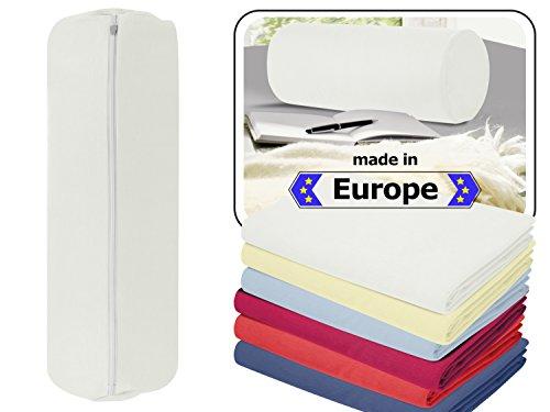 Nackenrolle in 3 verschiedenen Qualitäten oder Jersey-Kissenhülle für Nackenrollen in 6 Farben - 100% Mako-Baumwolle - Einheitsgröße ca. 40 x 15 cm, Bezug in weiß
