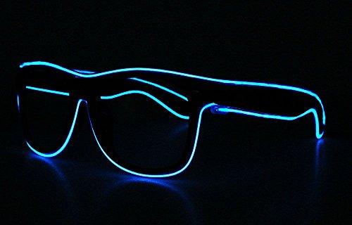 WEKA LED EL Draht Brille Leuchten Glühen Blinkend Sonnenbrille Blau