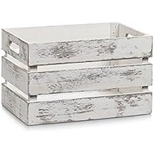 Zeller 15130 Aufbewahrungs-Kiste, Holz, vintage weiß, 31 x 21 x 18,7 cm