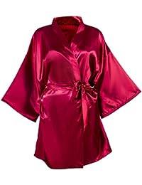 Damas Satinado Bata De Baño Kimono Albornoz Noche De Clásico Dormir Suelta Calentamiento Funda Camisón para Boda Fiesta Despedida…