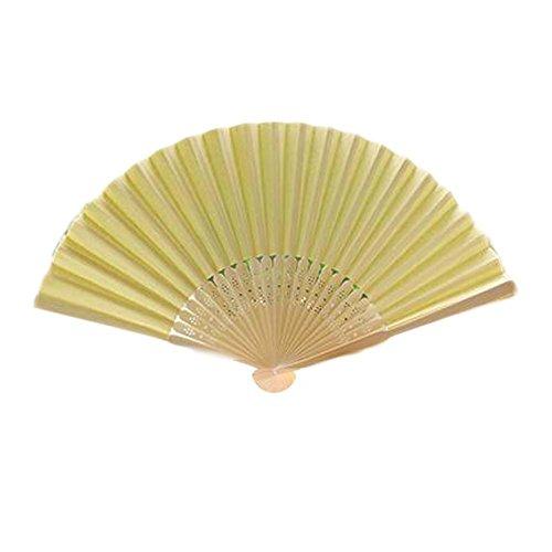 10 Stück Malerei Blank Fan Papier Falten Fan Doodle DIY Zeichnung Fan [gelb]