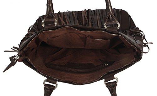 Ascoli - Shopper Schultertasche mit Fransen Flecht URBAN BAG Baumwolle Canvas mit Leder Damen Handtaschen 37x36x10 cm (B x H x T), Farbe:korngold korngold
