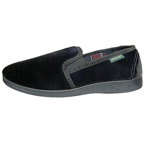 mens-controllare-foderato-velluto-dunlop-pantofole-nero-black-taglia-43-eu