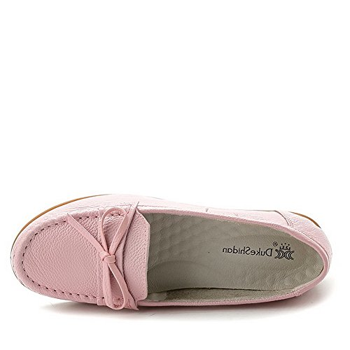 AllhqFashion Damen Niedriger Absatz Ziehen Auf Weiches Material Rund Zehe Pumps Schuhe Pink