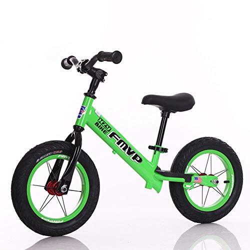 1-1 Balance Fahrrad Kinder, Lernlaufrad Lufträder Ohne Pedale Verstellbarer Leicht Balance Bikes 14in,Green