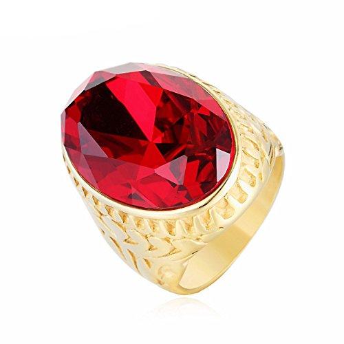 Taizhiwei grandes anillos rubi mujer titanio acero inoxidable anillos talla piedra dorado retro moteros anillo hombre