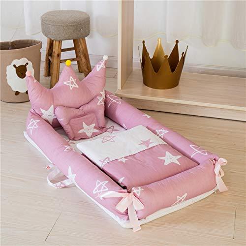 WNZL Baby Lounger, Co Sleeping Baby Stubenwagen - Babybett aus Baumwolle Premium-Qualität und größere Größe (0-24 Monate) - Atmungsaktives, hypoallergenes, tragbares Kinderbett,8 -