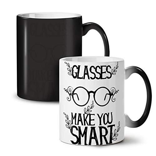 Wellcoda Brille Machen Clever Slogan Farbwechselbecher, Brille Tasse - Großer, Easy-Grip-Griff, Wärmeaktiviert, Ideal für Kaffee- und Teetrinker