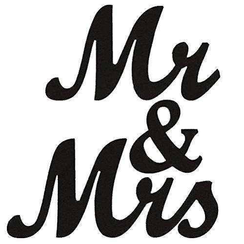 BESTOYARD Schriftzug Holz Mr and Mrs Vintage Dekobuchstaben Zeichen Hochzeit Wand Tisch Dekoration (Schwarz) (Mr Und Mrs Hochzeit Tisch Zeichen)