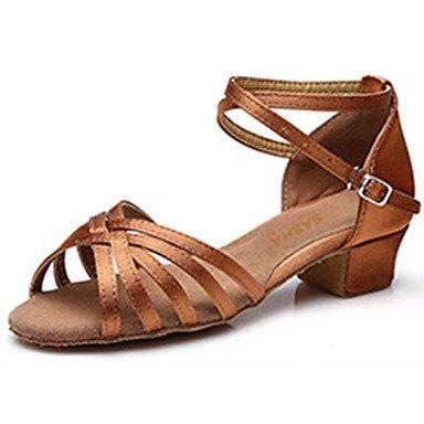 Chaussures de danse(Noir Or Marron foncé) -Personnalisables-Talon Bottier-Satin-Latines , dark brown , us9 / eu25 / uk8