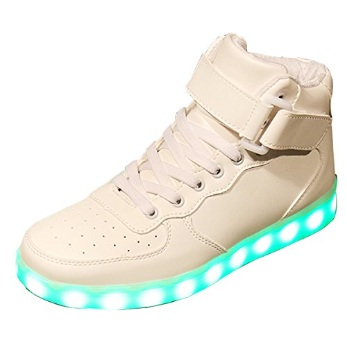 Gaorui Unisex Herren Damen LED Sneakers Hightops High-top Schuhe mit USB 7 Farbe Light