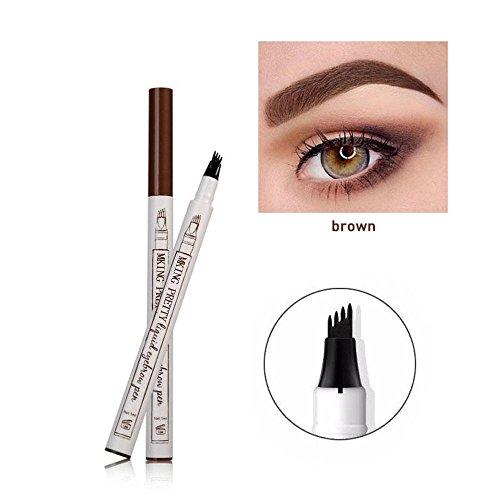KOBWA Tattoo Augenbrauenstift mit 4Tips, Wasserdicht Langanhaltend Augenbrauenstift, Liquid Eyebrow Pen Brow Gel für Augen Make-up (Braun)