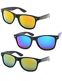 Stacle Retro Square Mirrored Horn Rimmed Unisex Wayfarer Sunglasses Combo (STR8822 54 Multiple Colours)
