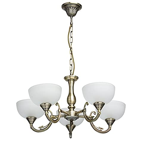Traditional classic pendant chandelier antique brass metal colour 5 arms matt white glass shades indirect light contemporary style with an elegant touch for a bedroom or a living room diametre 60cm 5-bulb exl, E27 5x60W 230V