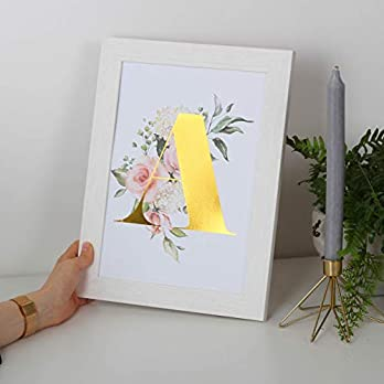 Personalised Floral Metallic Initial Print