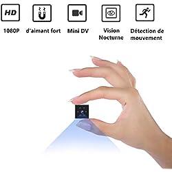 Camera Espion, Gutkam Full HD 1080P Mini Caméra Espion Portable sans Fil Micro Camera Cachée Spy avec Vision Nocturne et Détection de Mouvement pour Micro Caméra de Surveillance de Sécurité