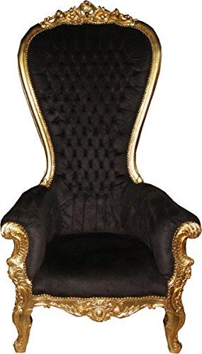 Casa-Padrino Sillón Trono Barroco Majestic Mod1 Negro/Dorado - Sillón Gigante - Silla Trono