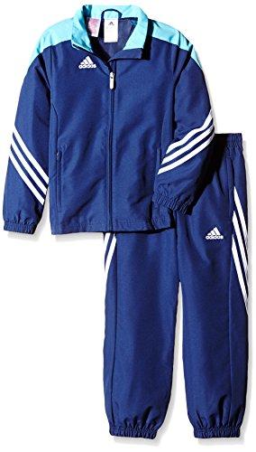 adidas Kinder Trainingsanzug Sereno 14,Top:New Navy/Super Cyan/White Bottom:Dark Blue/White,152