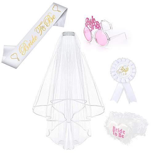 Preisvergleich Produktbild 5 Pcs JGA Junggesellinnenabschied Braut Accessoires Set - Bride to Be Schärpe / Schleier Mit Haarkamm / Brille / Rosette Button / Strumpfband
