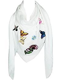 Mevina Schal mit Schmetterling Blumen Patches Fransen groß quadratisch Baumwolle Schal Halstuch Oversized