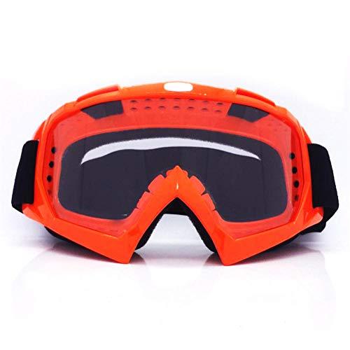 Erwachsene Männer und Frauen Motocross ATV MX Geländelanglaufbrille Brille mit bunten / transparenten Gläsern Outdoor-Sport Ski Snowboard Klettern Camping Motorrad Rennhelm Brille@Orange Frame tran