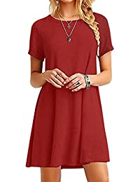 5b7404d76839 YMING Damen Casual Langes Shirt Lose Tunika Kurzarm T-Shirt Kleid 24  Farbe,XS