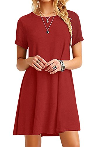 YMING Mädchen T-Shirt Kleid Casual Loose Kleid Kurzarm Tunika,Orange,XXS/DE 32