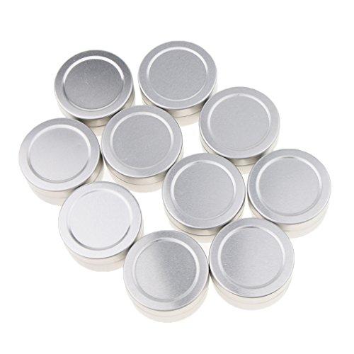 Baoblaze 10 Pcs 10ML/15Ml Boîte Pot Vide Rechargeable en Aluminium à Baume à Lèvres/Crème Cosmétique - Idéal pour Voyage - argent, B-10ML-3,5 x 1,8 cm
