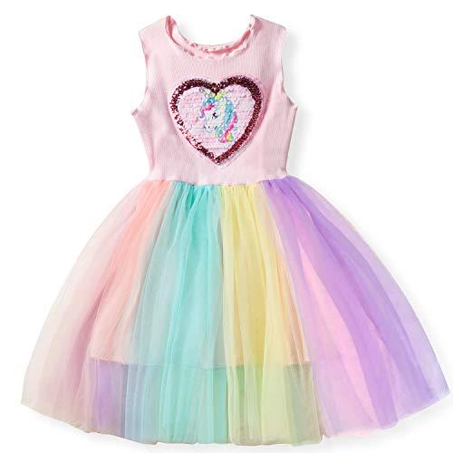 NNJXD Kleine Mädchen Einhorn-beiläufiges Kleid Sequin Applikationen Sommer-Kleid-Größe (140) 6-7 Jahre Rosa