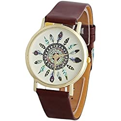 HARRYSTORE Womens Vintage Feather Dial Leather Band Quartz Analog Wrist Watches