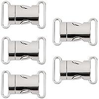 UEETEK 5pcs schnelle Seite Release Schnallen 20mm Gurtband Survival Armband Verschluss Verschluss Haustier Kragen Rucksack Belt(Silver)