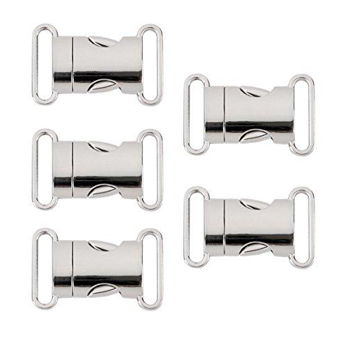 UEETEK 5pcs schnelle Seite Release Schnallen 20mm Gurtband Survival Armband Verschluss Verschluss Haustier Kragen Rucksack Belt(Silver) (Release Schnalle Kragen)