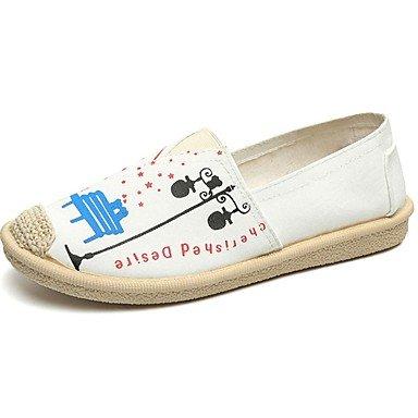 Blanc Slip Bleu SHOESHAOGE Chaussures Ons Bleu Pour Trotteurs Pour Automne Plat Blanc Talon Toile Femmes Rond Confort Gore Bout Blanc Noir Amp; zq8x4HRwqr