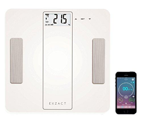 EXZACT Smart - Escala Analizadora Inteligente/Analizador Corporal/Báscula Personal Electronica/Báscula de Baño Digital - Bluetooth 4.0 (iPhone iOS) - 180 kg/ 400 lb (Blanco)