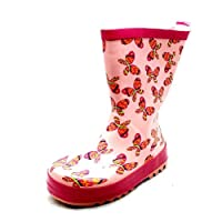 SendIt4Me Girls Pink Butterfly Calf Length Wellington Boots