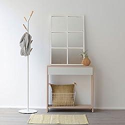 Consola Nórdica Kenay Home Luci Espejo, Madera, Blanco, 90x5x60 cm