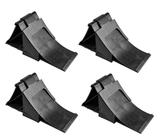 APT 4X Unterlegkeile mit Halter in Schwarz für Wohnmobil Anhänger Bremskeile Hemmschuhe - Anhänger-reifen-halter