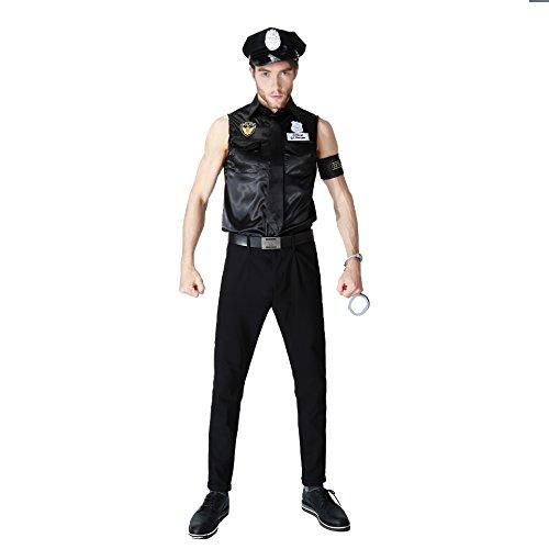 (Paar Tragen Polizeikostüm Frauen Sexy Polizistin Uniform Mit Kleid, Kappe, Gürtel, Schwarz Für Cosplay Party,Men)