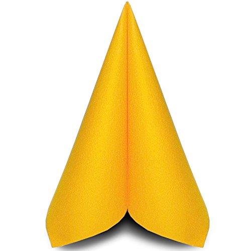 Prime Guest Airlaid-Servietten 40x40 cm / Premium Einweg-Serviette / textilähnlich und saugstark / perfekt für Hochzeit & Partys / 50 Stück / Gelb (Papier Gelbe Servietten)