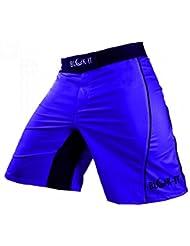 Pantalones Cortos para Peleadorde Blok-IT - Estos Shorts de Boxeo y MMA son Grado Competencia, pero Flexibles y Cómodos para todos el Entrenamiento Diario - Ideales para Todas las Artes Marciales, Surf, y Andar en Patineta(Azul,L)