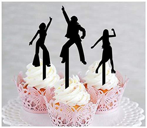 Dekoration, Cupcake-Topper, Hochzeit, Geburtstag, Party, Disco-Party, Silhouette, 10 Stück