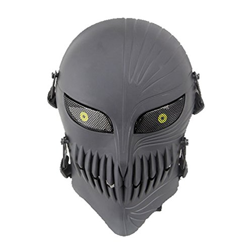 haoyk Tactical Totenkopf Full Face Schutz Masken für Airsoft Paintball Outdoor CS Krieg Spiel BB Gun Cool Scary Ghost Halloween Party Maske, schwarz