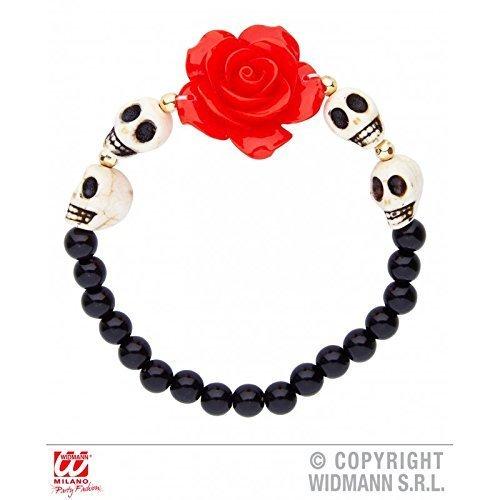 Perlenarmband in schwarz die de los muertos / Armkette mit roter Rose und Totenköpfen / Tag der Toten Halloween Kostüm Zubehör