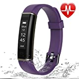 Letsfit Unisex's ID130HR Fitness HR, Pedometer, Intelligent Activity, Heart Rate, Sleep Monitor, Counter, Step Tracker, Slim Smart Watch for Kids Women Men, Purple, Standard