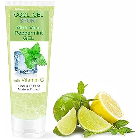 Gel d'Aloe Vera Refrescante con Menta y Vitamina C - DEPILACIÓN - DEPORTE - Calmante después del Sol / Después de Afeitarse o de Depilarse 227
