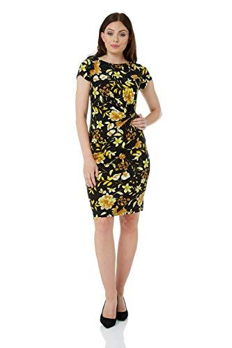 Roman Originals Damen Jersey-Plissée-Kleid mit Blumen-Print - Damen kurzärmelige, knielange Kleider zum Ausgehen, für tagsüber, Bewerbungsgespräche, Arbeit, Büro, Cocktails, Gelb - Größe 40