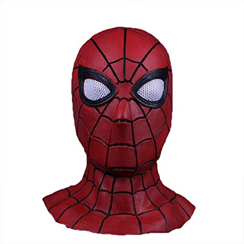 QWEASZER Schwarze Spider-Man Maske Cosplay Maskerade Helm Halloween Maske Erwachsener Spider-Man: Far from Home Maske, Spiderman Hood Helm Comics Hero Kopfbedeckung Kostüm,Red-0cm~60cm
